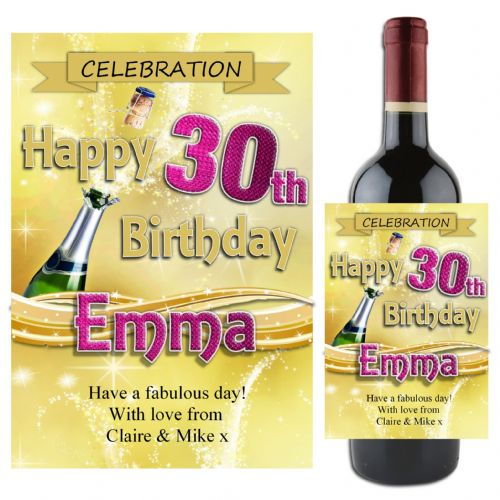 Personalised Happy Birthday Wine / Champagne Bottle Label N71 - Gold Champagne Burst